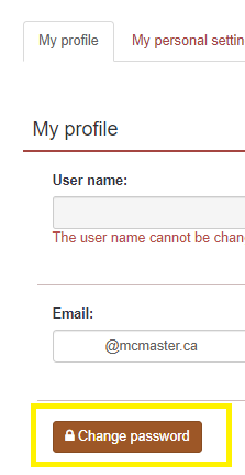 Click on change password button located under the My profile tab.