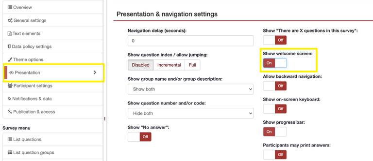 Survey settings menu, with Presentation option and Show welcome screen setting enclosed in yellow boxes.
