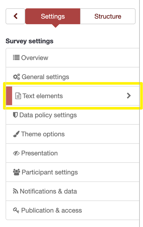 Survey settings menu, with Text elements option enclosed in a yellow box.
