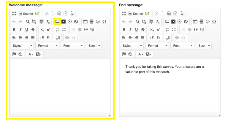 Survey text elements with welcome message field and image toolbox enclosed in yellow boxes.